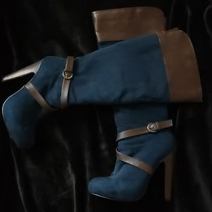 Blue knee high boots size 6